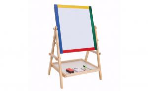 Tabla de scris si desenat tip sevalet cu doua fete, marker si magneti, din lemn mdf, 66 x 40 x 36.5 cm
