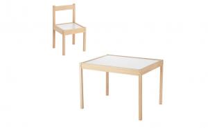 Set masuta si scaunel din lemn pentru