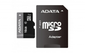 Card de memorie Adata microSDHC AUSDH16GUICL10 RA1  16GB  Clasa 10   adaptor SD
