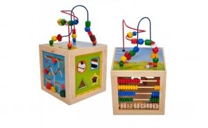 Cubul activitati Montessori 5 in 1, lemn bine finisat, lacuri ecologice