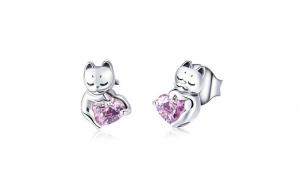 Cercei din argint 925 Cat Pussy Pink