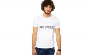Tricou barbatesc alb 50% Single