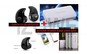 Baterie externa Power 20.000 mAh, cu 3 USB + Casca Bluetooth mini, invizibila
