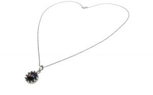 Lantisor argint cu pandantiv coroana perla de cultura neagra 8 MM
