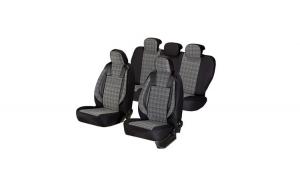 Huse scaune auto AUDI A3  1996-2006  dAL Luxury Negru,Piele ecologica + Textil