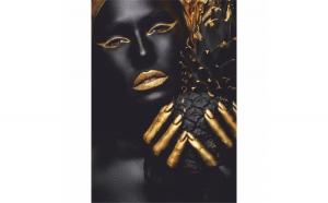 Tablou Canvas Gold Pineapple, 40 x 60 cm, 100% Bumbac