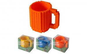 Cana customizabila cu piese Lego, Portocaliu, 350 ml