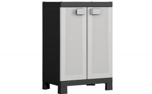 Dulap depozitare, Hart, 3 rafturi ajustabile si usi, ultrarezistent, 65 x 45 x 97 cm, negru-gri