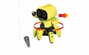 Mini Robot interactiv de construit, 6 picioare, ecran Led, senzor de miscare si sunet