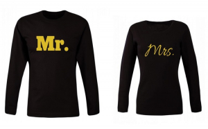 Set de bluze negre pentru cupluri Gold