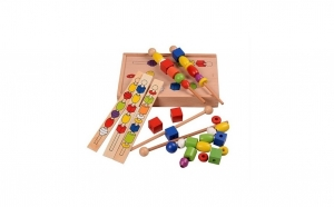Caseta Montessori cu bile insiruire