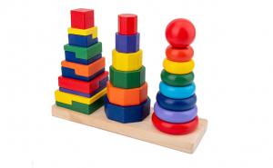 Joc de stivuit din lemn Piramida 3 in 1