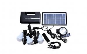 Kit solar cu lampa U, lanterna frontala, USB, 3 becuri 6V 4Ah - GDLITE-1
