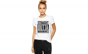 Tricou dama alb -  Straight Outta Maramures