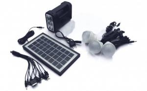 Kit panou solar fotovoltaic - iluminare 3 becuri, lanterna, incarcare telefon