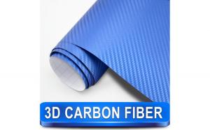 Rola folie carbon 3D albastra cu tehnologie de eliminare a bulelor de aer 10 x 1 5m