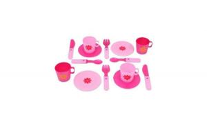 Set de bucatarie cu cesti, farfurii si tacamuri pentru servit masa, 14 piese, roz, 3 ani +   *