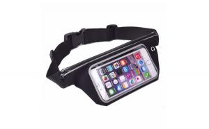 Husa de telefon negru, Universala pentru alergare, tip borseta, suport de talie