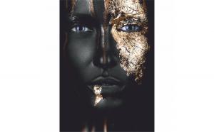 Tablou Canvas Gold Face, 50 x 70 cm, 100% Bumbac