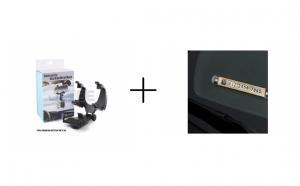 Suport de telefon, cu prindere pe oglinda retrovizoare + Suport de parbriz pentru numar