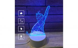 Lampa De Veghe 3D LED, Pisicuta , 7 Culori, Lumina Ambientala, Alimentare USB cu Incarcator priza si/sau 3 baterii AA