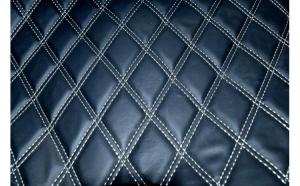 Material piele eco interior tapiterie auto romb Negru cusatura Gri