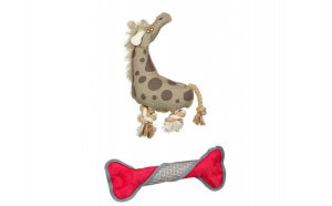 Set 2 jucarii pentru caini girafa + os