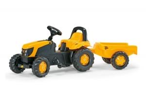 Tractor galben cu pedale si remorca copii.