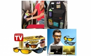 Set 2 perechi ochelari de zi si de noapte HD Vision + Organizator pentru scaun auto, la doar 59 RON in loc de 149 RON