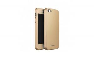 Husa Apple iPhone 5/5S/SE IPAKY Full Cover 360 Auriu + Folie Cadou
