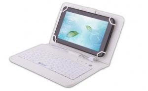 Husa tableta 7 inch cu tastatura micro USB, alb, tip mapa, prindere 4 cleme C4