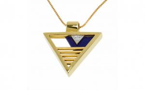 Lant cu pandantiv din aur galben 14K cu Lapis Lazuli si diamante Black Friday Romania 2017
