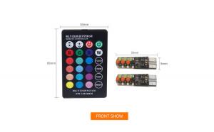 Set 2 LED-uri auto W5W T10, RGB multicolore, pentru pozitie, telecomanda