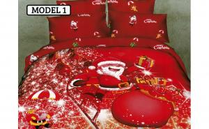 Lenjerie de pat pentru 2 persoane, 220x230 cm, 4 piese, bumbac satinat 3D de Craciun