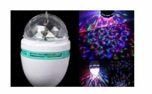 Bec color disco rotativ cu 3 LED-uri Cristal ball