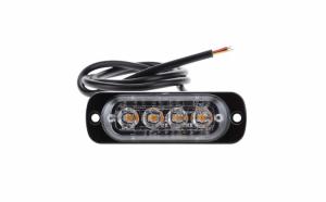 Stroboscoape 4 LED, lumini de avertizare galbene pentru platforma, ATV, Tractor, Jeep, Off Road, set 2 bucati