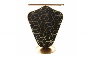 Organizator metalic Pufo Golden Velvet pentru coliere si bijuterii, negru cu auriu