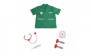 Set costum doctor chirurg + cu instrumente medicale, pentru copii