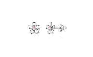 Cercei din argint 925 Pink Cherry Flower