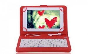 Husa tableta 9.7 inch, cu tastatura micro usb, rosu, tip mapa, prindere 4 cleme, protectie antisoc, piele sintetica, functie stand C18, la 42 RON in loc de 89 RON