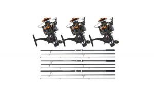 Set 3 Lansete, Baracuda, Master Carp, 3.90 metri, din 3 tronsoane, echipate cu 3 Mulinete, WindBlade, TR12-60, cu 10 rulmenti si baitrunner
