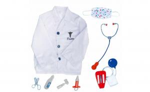 Set de joaca doctor pentru copii, cu halat, stetoscop si diferite ustensile