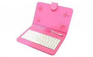 Husa tableta 9.7 inch, cu tastatura micro usb ,model X, roz , tip mapa , prindere 4 cleme, protectie antisoc  piele sintetica, functie stand compatibil android si windows C19, la 42 RON in loc de 89 RON