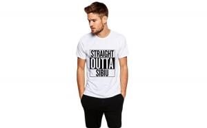 Tricou alb barbati - Straight Outta Sibiu