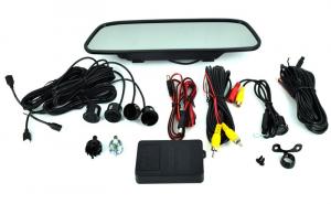 """Pachet sistem senzori parcare si camera marsarier cu display tip oglinda de 5"""" / 12V"""