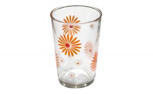 Set pahare 6 bucati cu decor flori orange bauturi racoritoare 011134