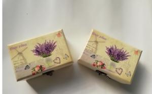 Cutie bijuterii lemn cu model lavanda