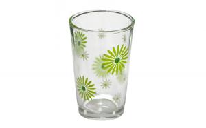 Set pahare 6 bucati cu decor flori verzi bauturi racoritoare 011133
