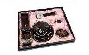 Set dama cu 5 accesorii: ceas + curea + poseta + breloc + oglinda, la 138 RON in loc de 276 RON