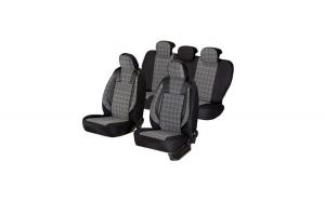 Huse scaune auto FORD FOCUS II 2004-2010   dAL Luxury Negru,Piele ecologica + Textil